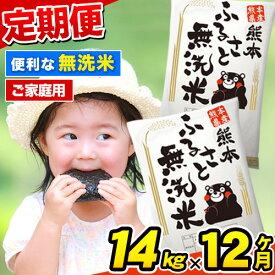 【ふるさと納税】ご家庭用 熊本ふるさと無洗米14kg 12ヶ月定期便 熊本県産 無洗米 14kg 精米 御船町《2021年12月より出荷開始》計12回お届け 10kg 以上 米 コメ 7kg×2袋 無洗米 ヒノヒカリ 使用