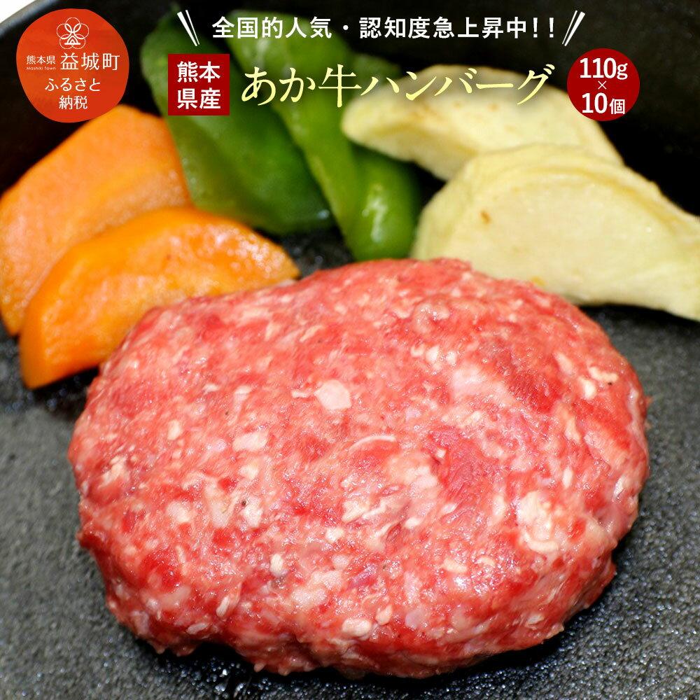【ふるさと納税】あか牛ハンバーグ 110g×10個 合計1.1kg 熊本県産 牛肉 赤牛 九州産 国産 手作りハンバーグ 冷凍 送料無料