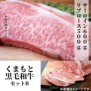 【ふるさと納税】熊本県産黒毛和牛セットB サーロイン600g+リブロース500g
