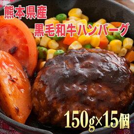 【ふるさと納税】15個入り!!熊本県産 黒毛和牛 ハンバーグ 150g×15個