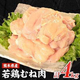 【ふるさと納税】熊本県産 若鶏むね肉 約2kg×2袋(1袋あたり約300g×7枚前後) たっぷり大満足!計4kg!《60日以内に順次出荷(土日祝除く)》
