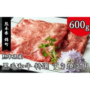 【ふるさと納税】熊本県産 黒毛和牛 特選 すき焼き 用 600g 【お肉・牛肉・すき焼き・黒毛和牛・スキヤキ】