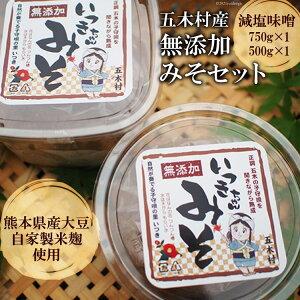 【ふるさと納税】No.057 五木村産 無添加みそセット / 減塩味噌 手作り 熊本県 特産