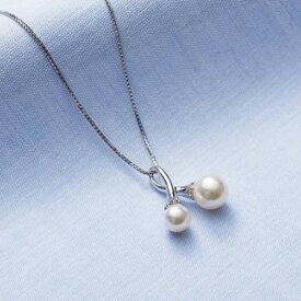 【ふるさと納税】アコヤ真珠2個付ペンダント(45cmスライドチェーン)