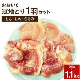 【ふるさと納税】おおいた冠地どり 1羽セット 900g〜1.1kg 大分県産 国産 九州産 鶏肉 とり肉 もも肉 むね肉 ささみ 冷蔵 送料無料