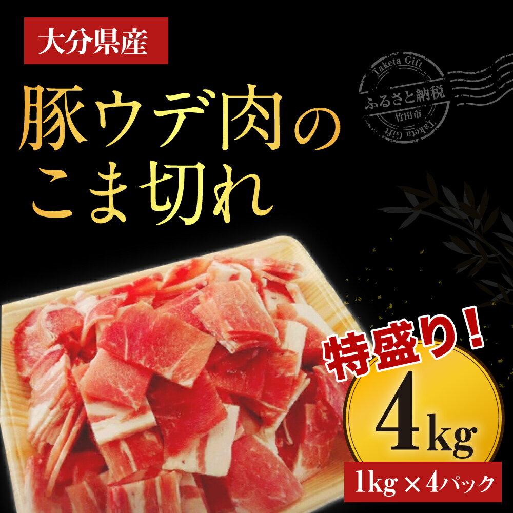 【ふるさと納税】大分県産豚ウデ肉のこま切れ4kg