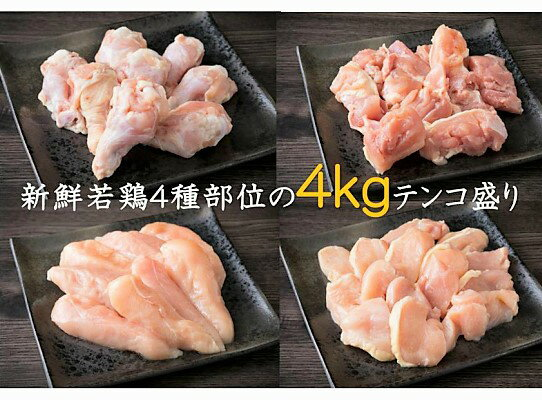 【ふるさと納税】驚きのテンコ盛り!大分県産鶏(4種部位 / 計4kg)・通