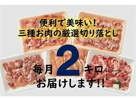 【ふるさと納税】毎月2kg!厳選3種お肉の便利な切落し半年間定期便