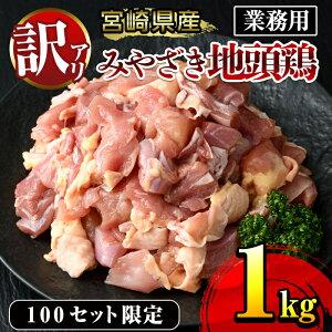 【ふるさと納税】【訳あり・数量限定】みやざき地頭鶏 業務用 1kg×1袋 鶏肉 【KU086】