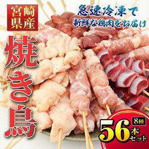 【ふるさと納税】【毎月数量限定】宮崎県産焼き鳥 8種類56本セット(ボンジリ串:7本、もも串:7本、皮串:7本、せせり串:7本、白レバー串:7本、砂ぎも串:7本、ハツ串:7本、鶏ハラミ