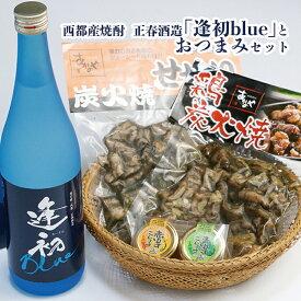 【ふるさと納税】西都産焼酎 正春酒造「逢初blue」とおつまみセット