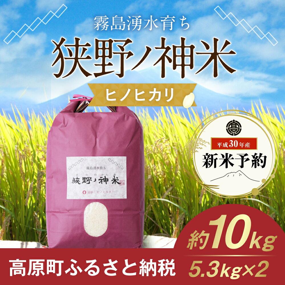 【ふるさと納税】宮崎県産 30年度産 新米 ヒノヒカリ 5.3kg×2 狭野ノ神米 送料無料