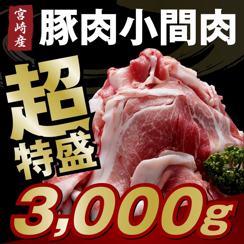 【ふるさと納税】宮崎県産 豚小間肉 3kg 送料無料