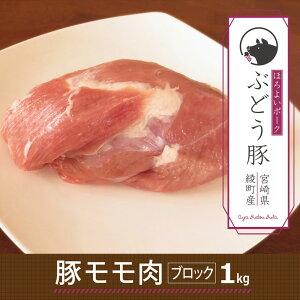 【ふるさと納税】綾ぶどう豚モモブロック1kg 豚肉 もも肉 国産 宮崎県産 銘柄豚 冷凍 送料無料