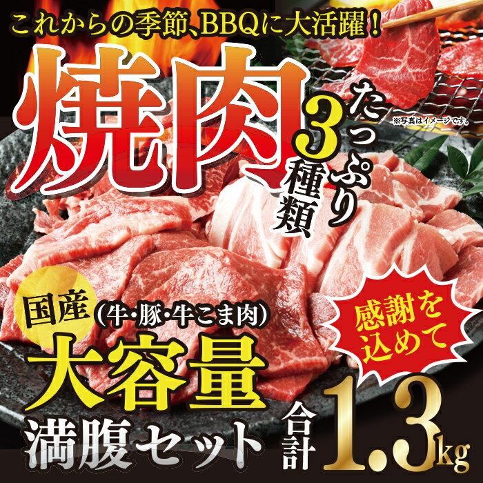 【ふるさと納税】<国産牛・豚たっぷり1.3kg満腹セット>※平成30年5月末迄に順次出荷します! 焼肉 花いちもんめ 牛肉 豚肉 小間切れ バーベキュー 特産品 宮崎県 高鍋町 【冷凍】