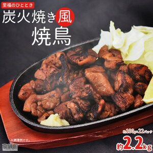 【ふるさと納税】<炭火焼き風焼鳥 約2.2kg(100g×22パック)> ※入金確認後、翌月末迄に順次出荷します。 鶏肉 お弁当 おかず オードブル 小分け つまみ 惣菜 南薩食鳥 特産品 宮崎県 高鍋町