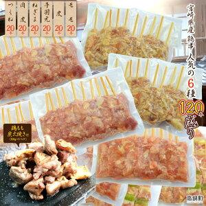 【ふるさと納税】<宮崎県産鶏串 人気6種類 120本セット+鶏もも炭火焼き>※入金確認後、翌月末迄に順次出荷します。モモ 皮 手羽元 ネギマ 肉皮 つくね もも ねぎま 鶏肉 特産品 おざわ商