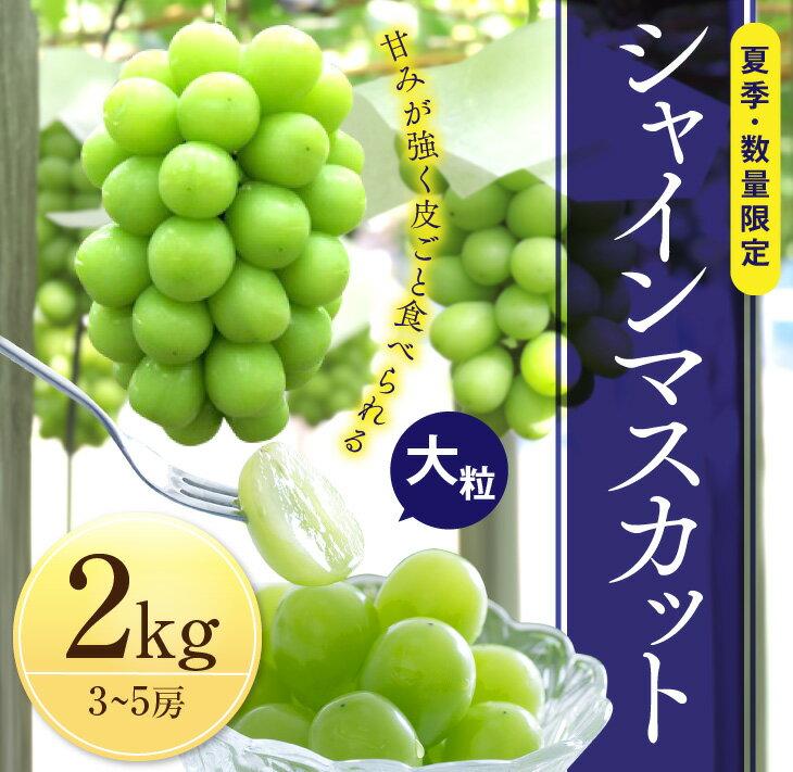 【ふるさと納税】『夏季・数量限定』シャインマスカット 2kg(3〜5房)