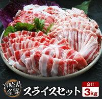 【ふるさと納税】宮崎県産豚スライス合計3kg(バラ・ロース・肩ロース各500g×2パック)