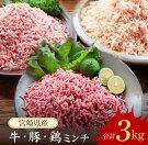【ふるさと納税】宮崎県産牛ミンチ・豚ミンチ・鶏ミンチ(合計3kg)都農町加工品