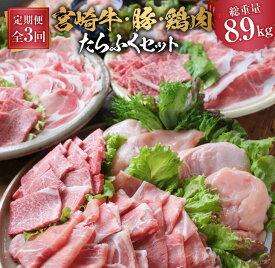 【ふるさと納税】3か月定期便「お楽しみ」宮崎牛・豚・鶏肉たらふくセット(総重量8.9kg)都農町加工品