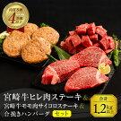 【ふるさと納税】宮崎牛ヒレ肉ステーキ360g&宮崎牛モモ肉サイコロステーキ500g&合挽きハンバーグ(100g×4個)セット《合計1.2kg以上》