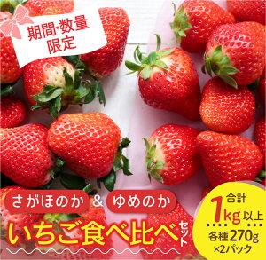 【ふるさと納税】JA尾鈴産『さがほのか&ゆめのか』いちご食べ比べセット(合計1kg以上)
