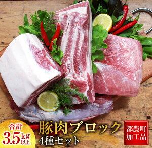 【ふるさと納税】豚肉ブロック4種セット(ヒレ・ロース・モモ・バラ)合計3.5kg《都農町加工品》