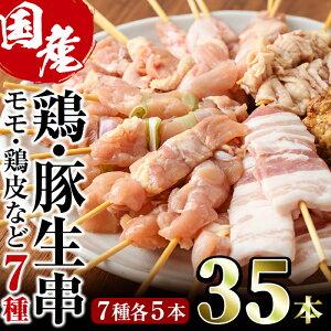 【ふるさと納税】宮崎県産鶏・豚生串(合計35本・7種)【V-1】【味鶏フーズ】