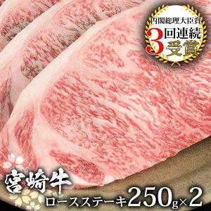 【ふるさと納税】受賞歴多数!! 宮崎牛 ロースステーキ 250g×2【合計500g】