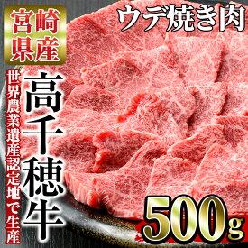 【ふるさと納税】<A4等級以上>宮崎県産!高千穂牛うで肉(500g)厳選和牛の焼肉用ウデ肉!美味しい牛肉をご家庭で!【A-3】【JA高千穂地区ミートセンター】