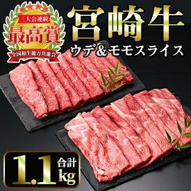 【ふるさと納税】宮崎牛スライス2種セット<合計1.1kg!ウデスライス(600g)・モモスライス(500g)>美味しい牛肉をご家庭で!【A-134】【ミヤチク】