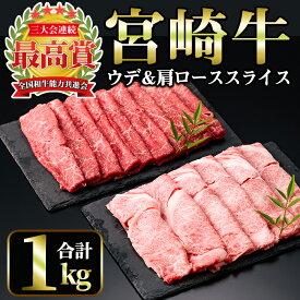 【ふるさと納税】宮崎牛スライス2種セット<合計1kg!ウデスライス(600g)・肩ローススライス(400g)>美味しい牛肉をご家庭で!【A-135】【ミヤチク】