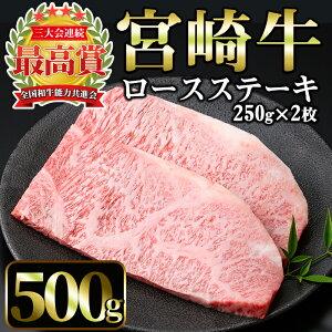 【ふるさと納税】宮崎牛ロースステーキ計500g(250g×2枚)美味しい牛肉をご家庭で!【A-137】【ミヤチク】