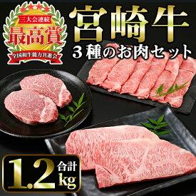 【ふるさと納税】宮崎牛3種セット<合計1.2kg!ヒレステーキ(150g×2)・肩ローススライス(400g)・ロースステーキ(250g×2)>美味しい牛肉をご家庭で!【A-140】【ミヤチク】