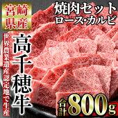 【ふるさと納税】高千穂牛焼き肉セット(ロース・カルビ各400g)【C-3】