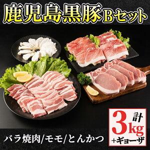 【ふるさと納税】鹿児島黒豚Bセット(計3kg+ギョーザ12個・バラ焼肉1kg、モモ1kg、とんかつ用1kg)自家農場で育てた自慢の豚肉をお届け【和田養豚】