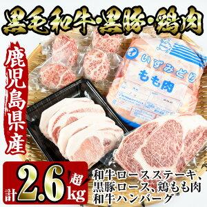 【ふるさと納税】鹿児島を味わえる牛豚鶏セット計2.6kg超(鹿児島県産黒毛和牛ロースステーキ200g、黒豚ロース400g(100g×4枚)、鶏もも肉2kg、和牛ハンバーグの4種)牛肉・豚肉・鶏肉をご堪能!【
