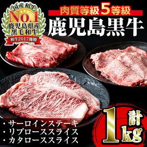 【ふるさと納税】<E-301>肉質最高ランク等級5等級 鹿児島黒牛サーロインステーキ(2枚)・すきやき(4〜5人前)セット(計1kg)【JA鹿児島いずみ】