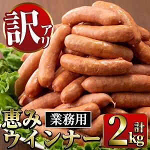 【ふるさと納税】《業務用・訳あり》恵みウインナー(1kg×2P・計2kg)国産豚肉使用!風味豊かなパリっとジューシーウインナー!ナンチク人気No.1ウインナーをお届け【ナンチク】