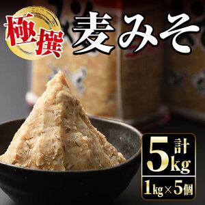 【ふるさと納税】極撰麦みそセット(1kg×5個・計5kg)こだわりの原料を使用した味噌!【奈良醸造元】