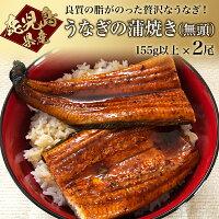 【ふるさと納税】鹿児島産うなぎの蒲焼(無頭)155g以上×2尾