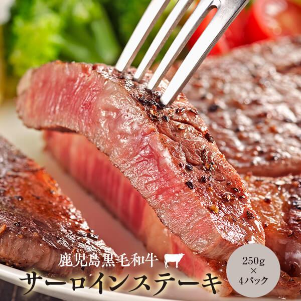【ふるさと納税】 黒毛和牛 サーロインステーキ 250g×4 サーロイン ロース 和牛 牛肉 ステーキ 肉 かんだ 本店 熟成 メス 牛 鹿児島 ふるさと 納税