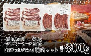 【ふるさと納税】【南さつまジビエ】鹿児島県産 猪肉焼肉用 600g & ソーセージ 200g