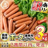 【ふるさと納税】【訳あり・業務用】合計3kg!どんどん使える!ポークウインナー(1kg×3袋)毎日のお料理に安心・安全な国産豚肉を使用したウィンナー【ナンチク】a0-152