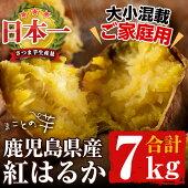 【ふるさと納税】【数量限定】【ご家庭用】国産!まことの芋さつまいも紅はるか計7kg(3.5kg×2箱・大小混載)サツマイモ生産量日本一の鹿児島県産!焼き芋やお菓子作り、お料理に♪【上迫農園】a0-038
