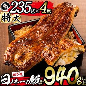 【ふるさと納税】うなぎ生産量日本一の鹿児島県産!日ノ本一の鰻の蒲焼き<特大>4尾セット(計940g以上)たれ、山椒付き!酸素たっぷり贅沢水で育ったおいしいウナギ【日鰻】c6-053