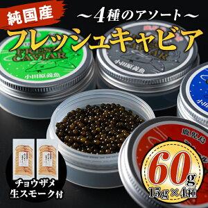 【ふるさと納税】小田原養魚の純国産フレッシュキャビア15g4種類と生スモーク200gセット
