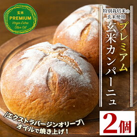 【ふるさと納税】プレミアム玄米カンパーニュセット(2個) 自社栽培した玄米を使用したパン【やまびこの郷】【Z5-03】