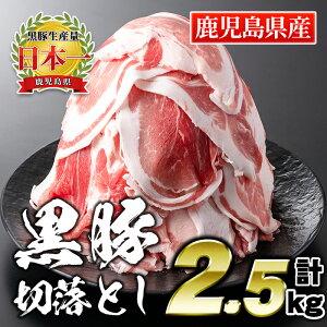 【ふるさと納税】鹿児島県産豚肉!黒豚切落とし500g×5パック(計2.5kg)!筋繊維が細く、歯切れがよく、やわらかいお肉をご家庭で!【財宝】【A0-41】